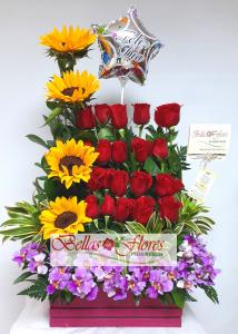 jardinera rosas y girasoles